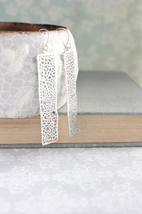 Long Bar Filigree Earrings - Silver