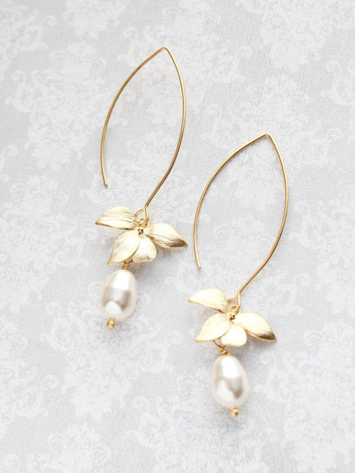 Orchid Pearl Earrings - Long
