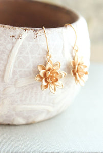 Lotus Flower Earrings - Matte Gold
