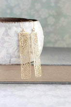 Load image into Gallery viewer, Long Bar Filigree Earrings - Gold