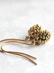 Rustic Gold Pinecone Earrings