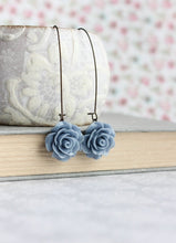 Load image into Gallery viewer, French Blue Rose Earrings