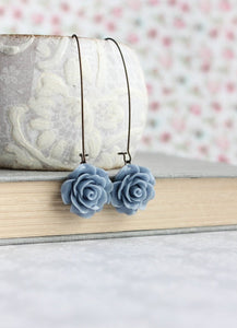 French Blue Rose Earrings
