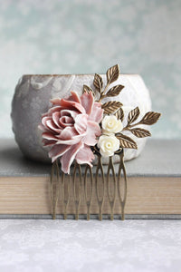 Dusty Rose Hair Comb - C1018