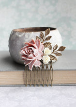 Load image into Gallery viewer, Dusty Rose Hair Comb - C1018