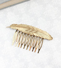 Load image into Gallery viewer, Feather Comb - Gold Brass