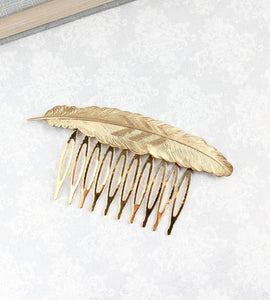 Feather Comb - Gold Brass