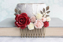 Load image into Gallery viewer, Red and Pink Floral Comb - C1040
