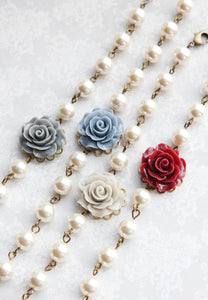 Deep Red Rose Necklace
