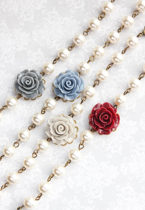 Rose Bracelet - Dusty Blue