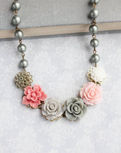 Sage Green and Pink Floral Necklace