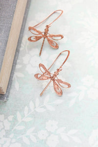 Dragonfly Earrings - Pink Copper