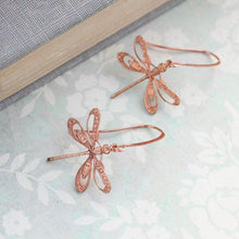 Load image into Gallery viewer, Dragonfly Earrings - Pink Copper