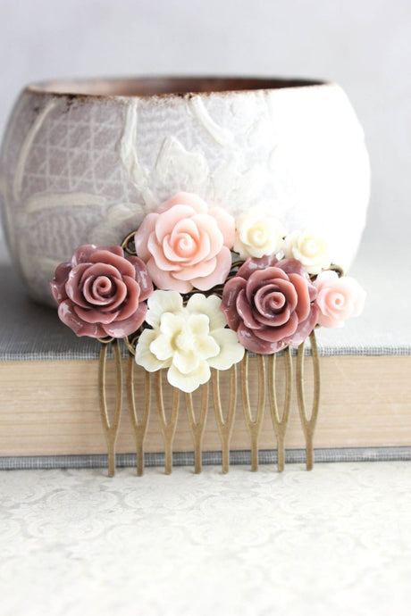 Dusty Rose Floral Comb - C1028
