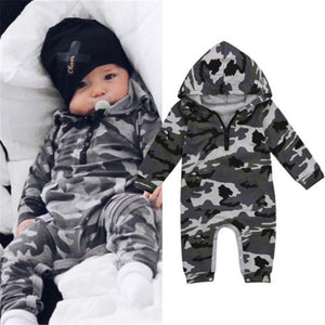 1bef52cd0b10 Infant Baby Boy Hooded CamouflageRomper Newborn Baby Camo Long Sleeve Romper  2017 New Warm Autumn Jumpsuit