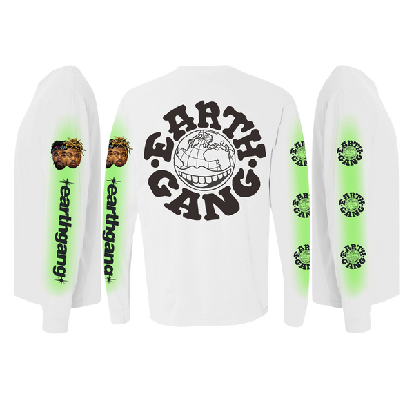 White and Green Airbrush Long Sleeve