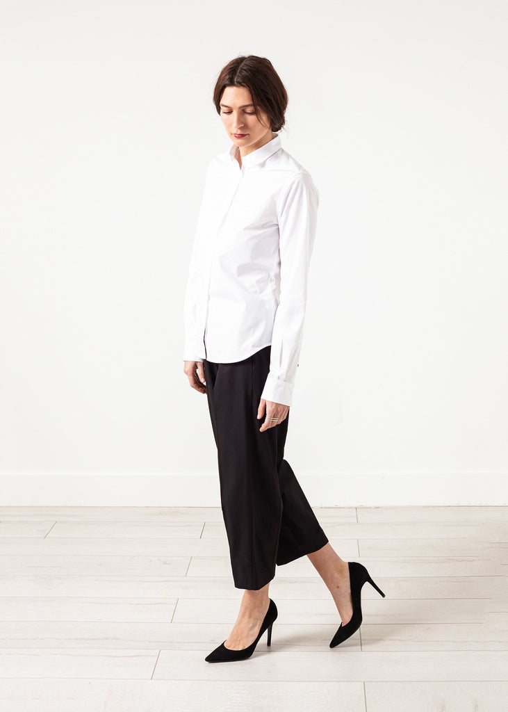 Wide Cropped Trouser in Black