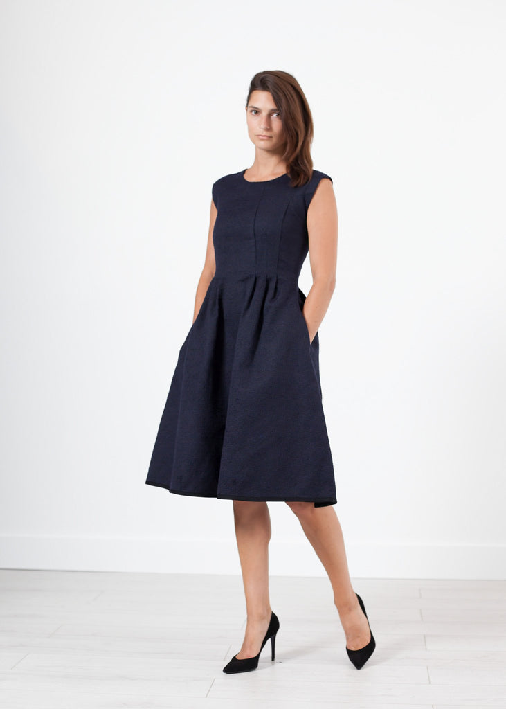 Pleated Rita Dress in Dark Navy