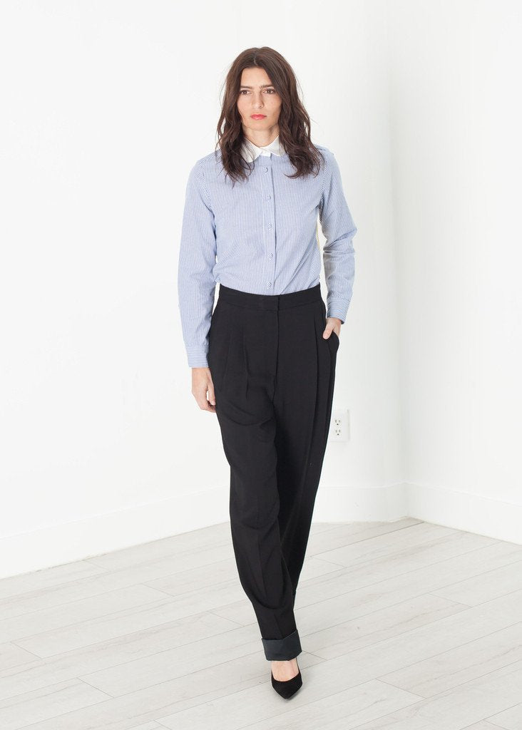 Contrast Cuff Pant in Black