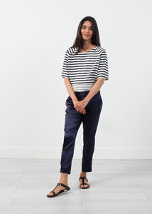 Sleeve Top in Navy Stripe
