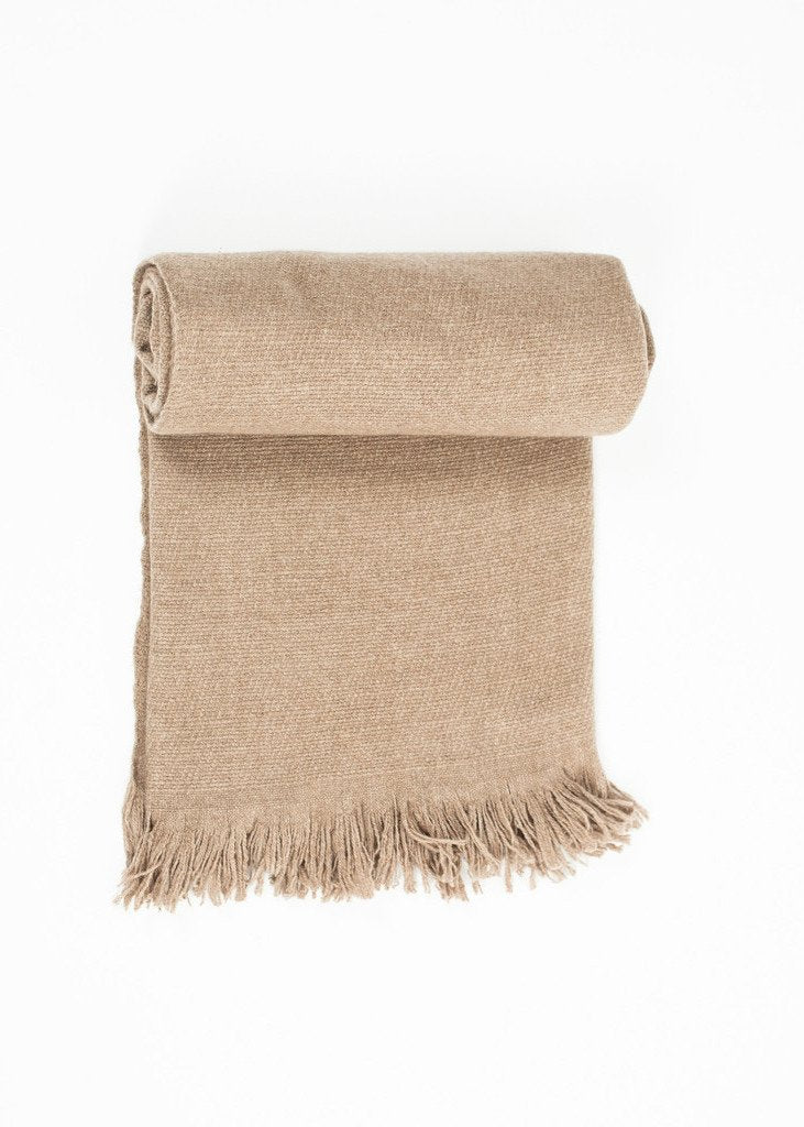 Cashmere Tassel Blanket in Brown