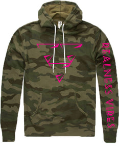 Realness Vibes Camouflage Hot Pink Hoodie