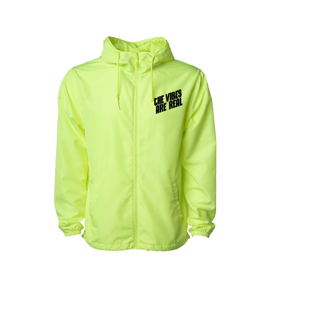 The Vibes Are Real Neon Yellow Windbreaker