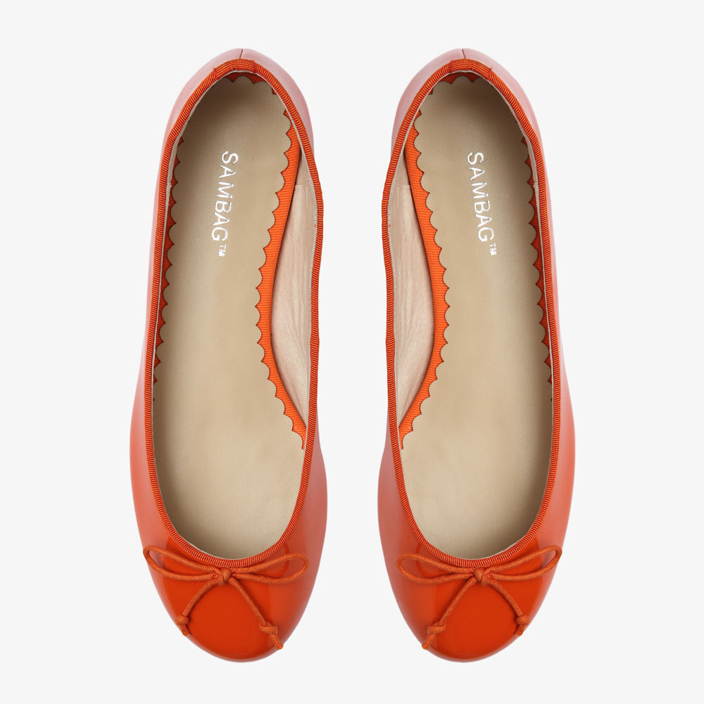 Tina Orange Patent Leather Ballet Flat