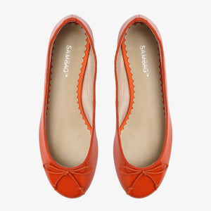 Tina Orange Patent Leather Ballet