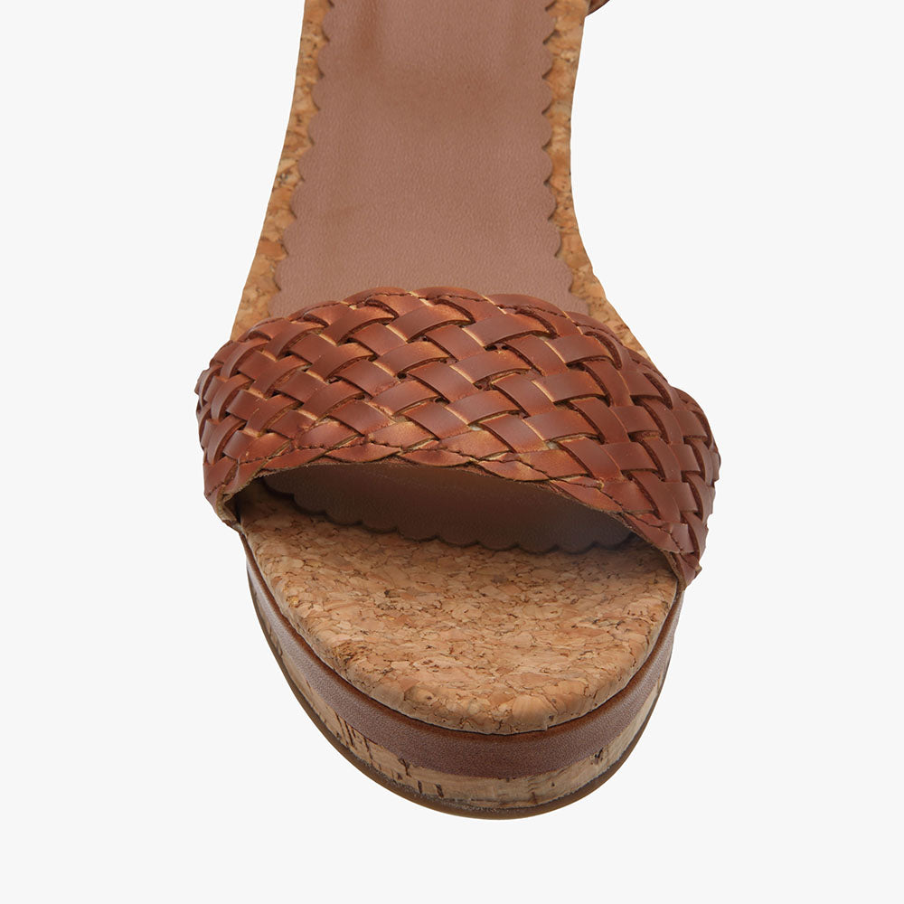 Erica Tan Leather Wedge