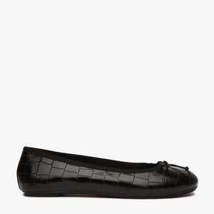 Natalie Black Croc Leather Ballet Flat