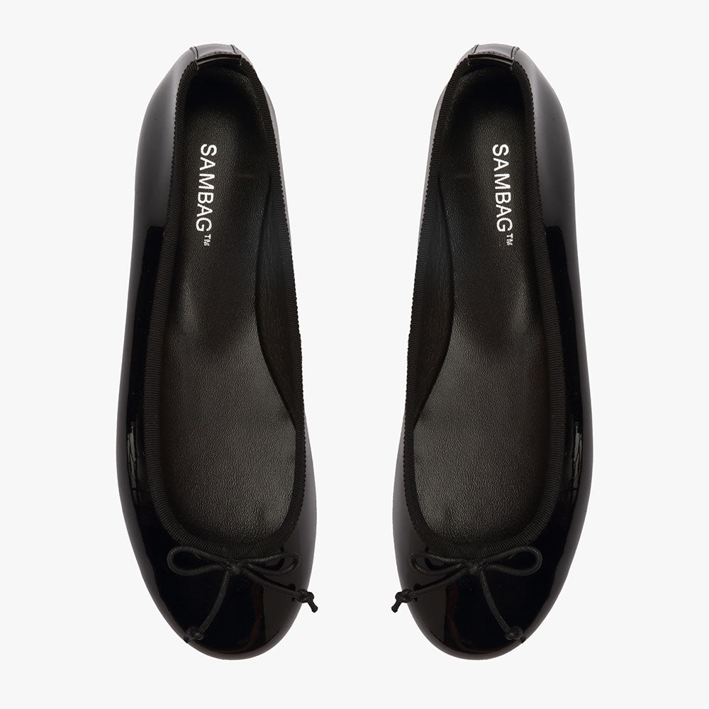 Natalie Black Patent Leather Ballet Flat