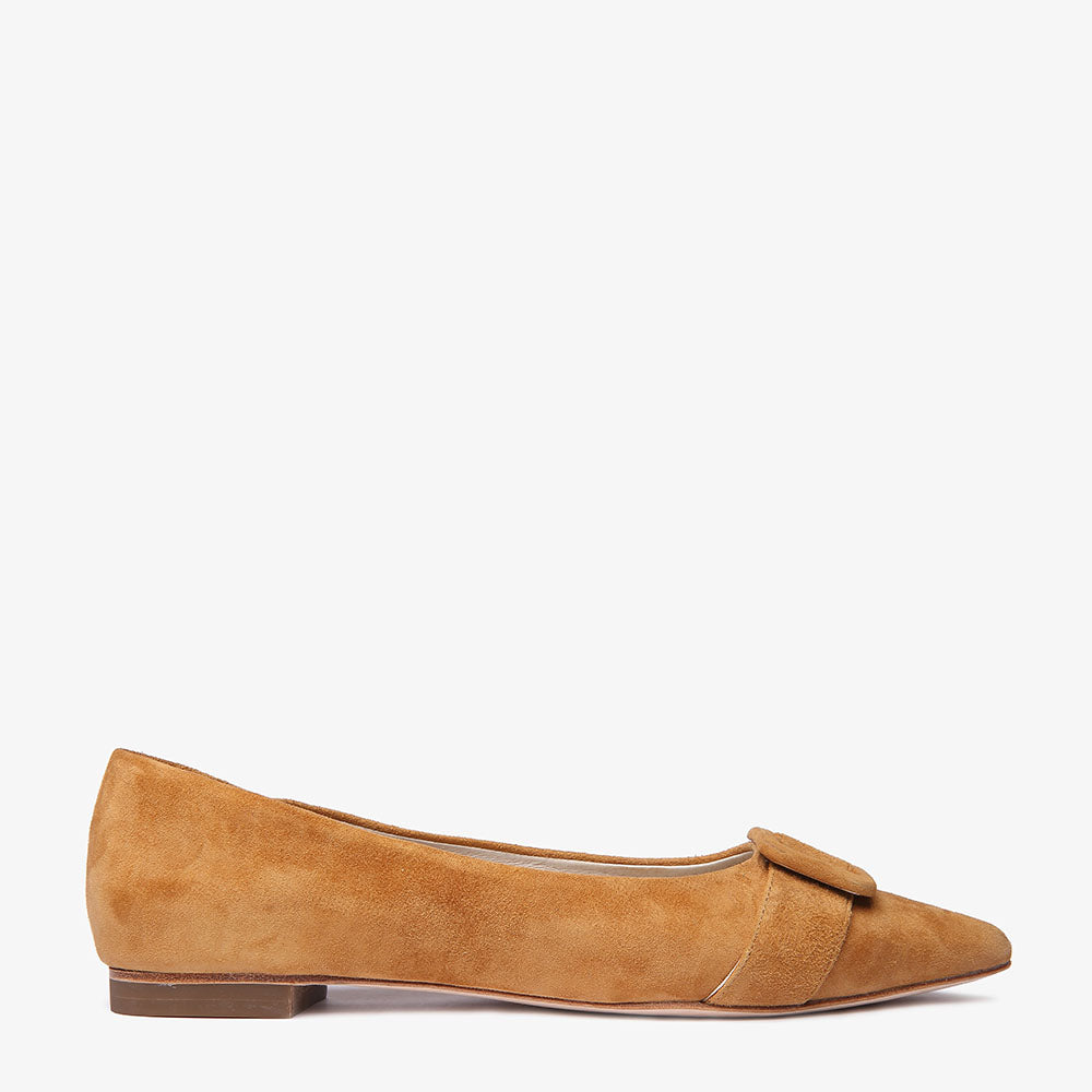 Irene Pointed Rust Suede Flat