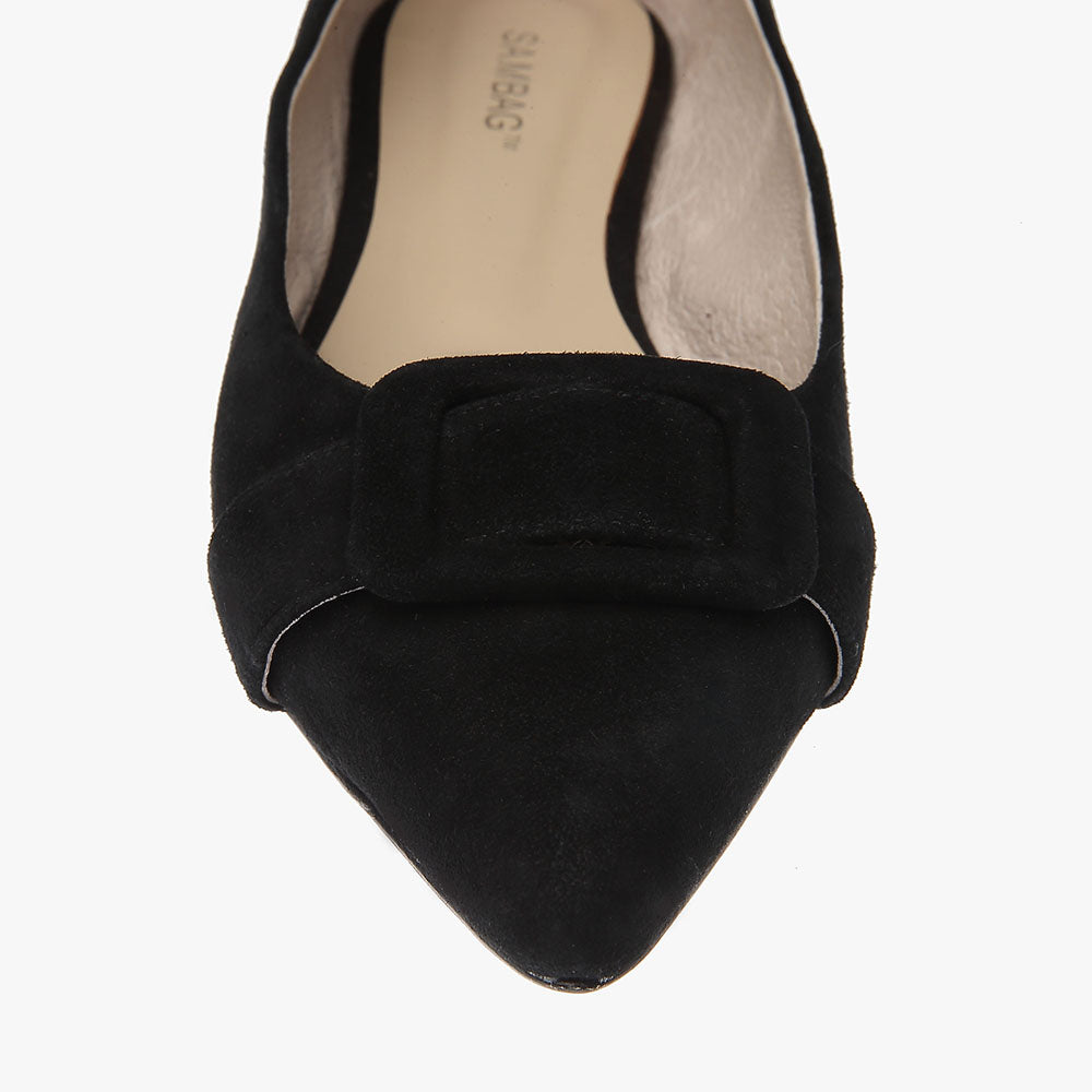 Irene Black Suede Pointed Flat