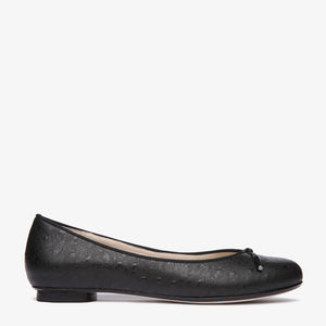Grace Black Embossed Ostrich Leather