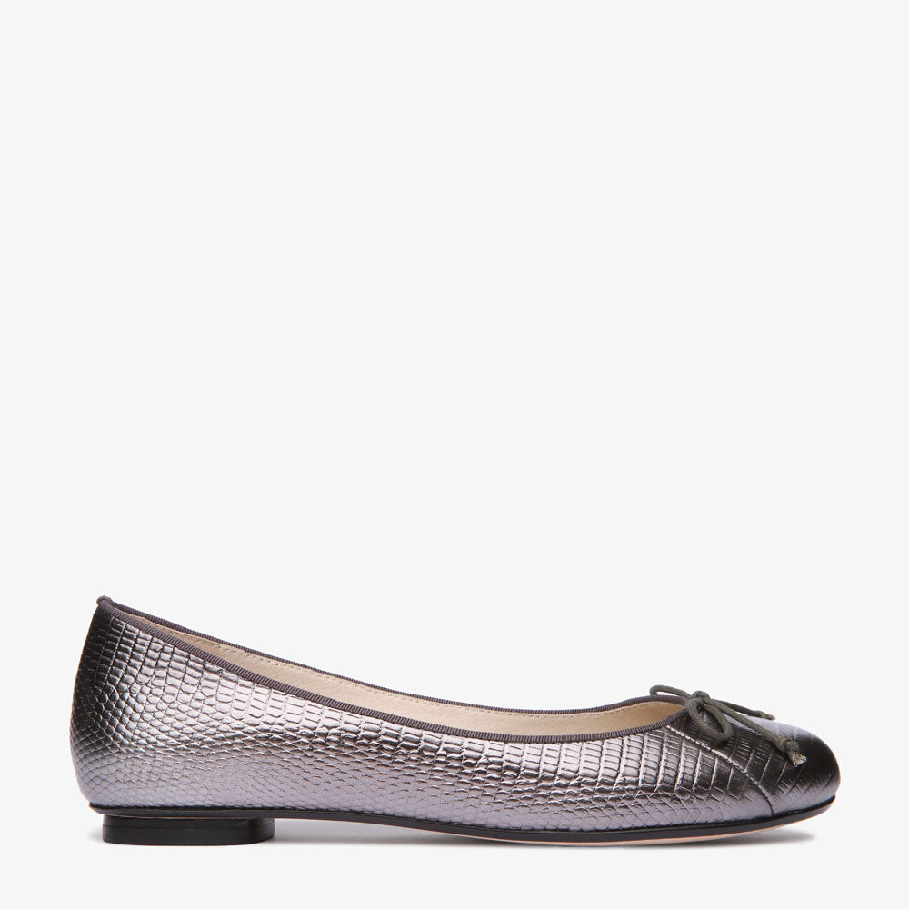 Tina Pewter Embossed Leather Ballet Flat