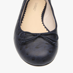 Tina Navy Ostrich Embossed Leather Ballet Flat