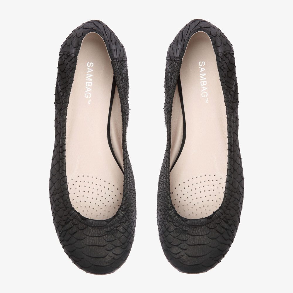 Belinda Black Embossed Snake Leather Ballet Flat