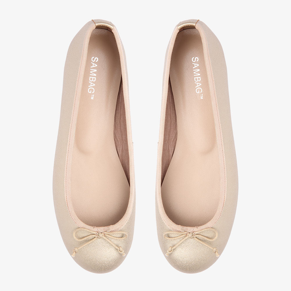 Natalie Gold Metallic Leather Ballet Flat