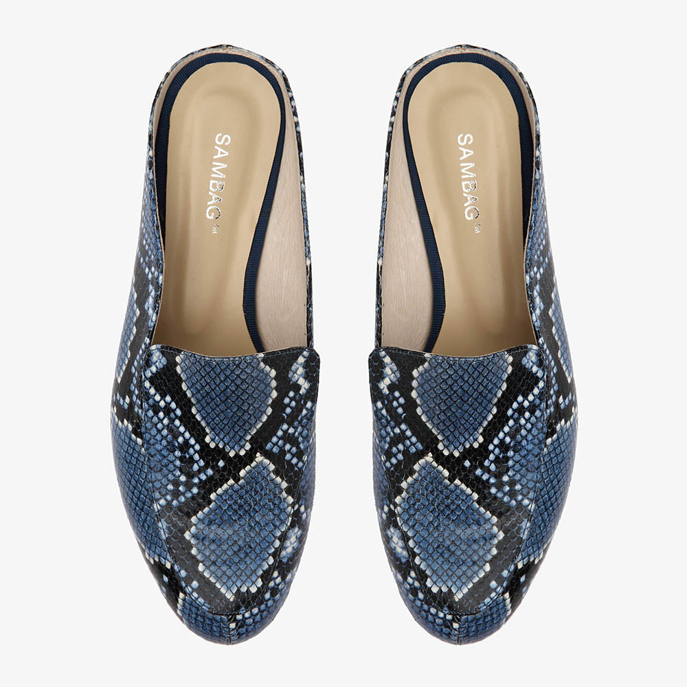 Jemima Blue Snake Backless Mule Close Up