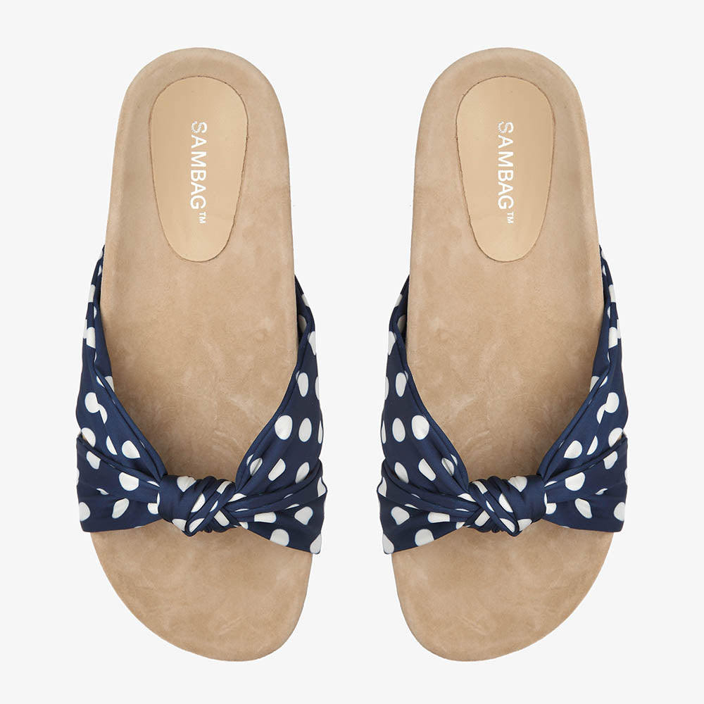 Paula Navy Polka Dot Satin Slide