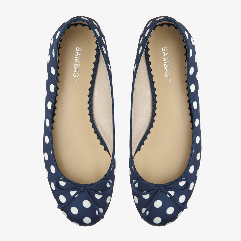 Tina Navy & White Polka Dot Satin Ballet
