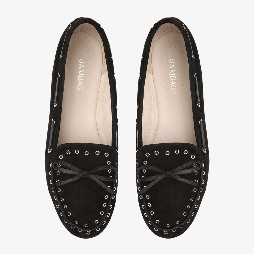 Bella Black Suede Loafer