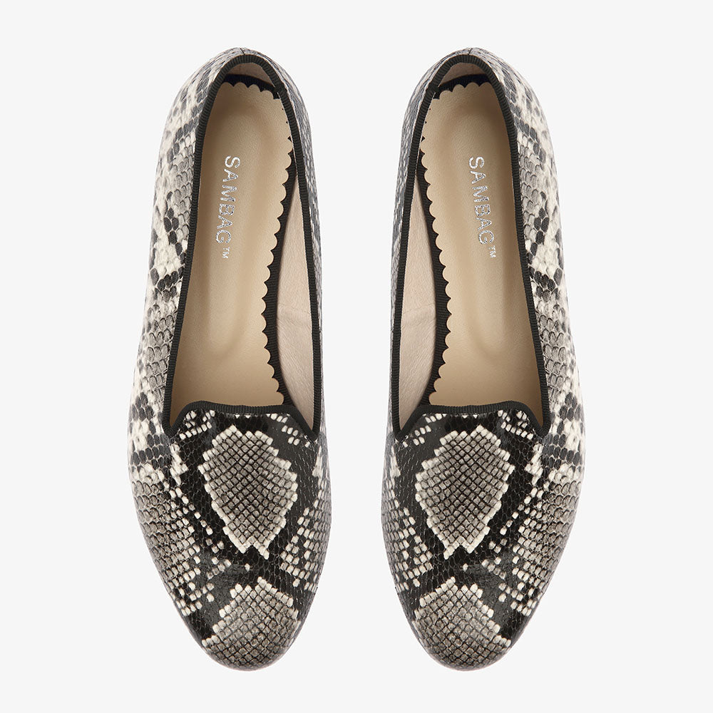 Lola Black & White Snake Loafer
