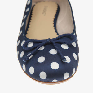 Tina Navy & White Polka Dot Satin Ballet Close Up