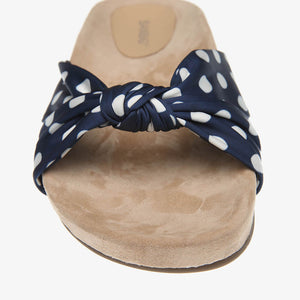 Paula Navy Polka Dot Satin Slide Close Up