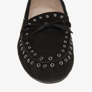 Bella Black Suede Loafer close up