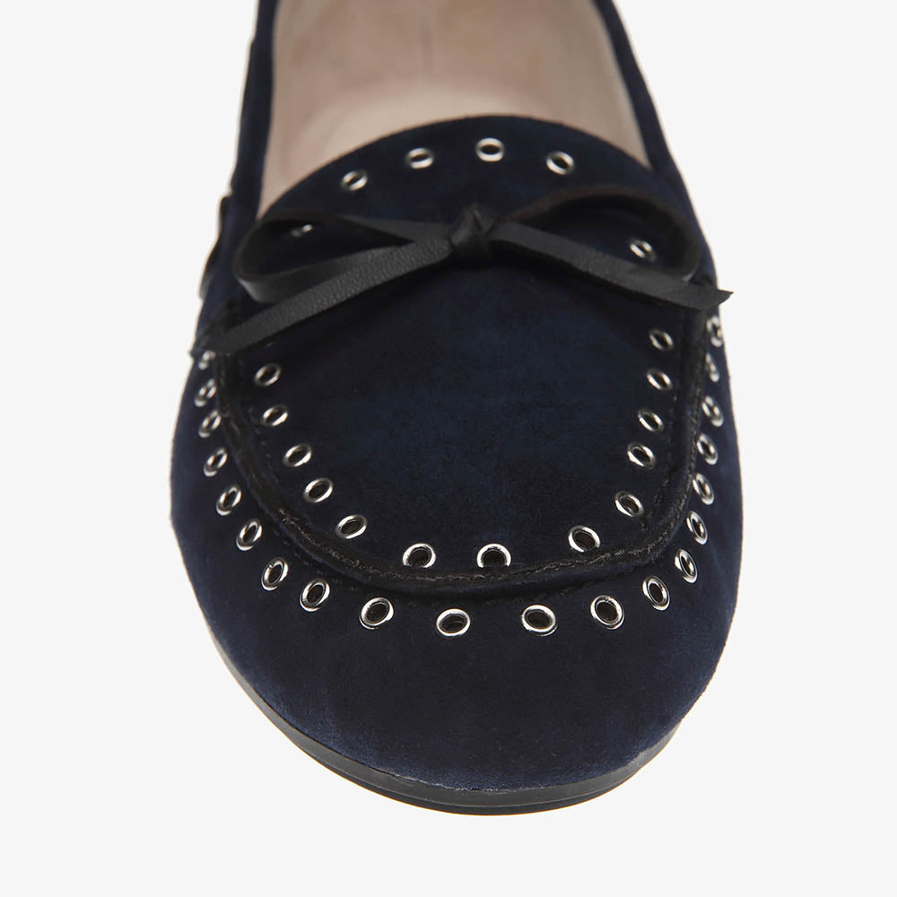 Bella Navy Suede Loafer close up