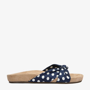 Paula Navy Polka Dot Satin Slide Side View