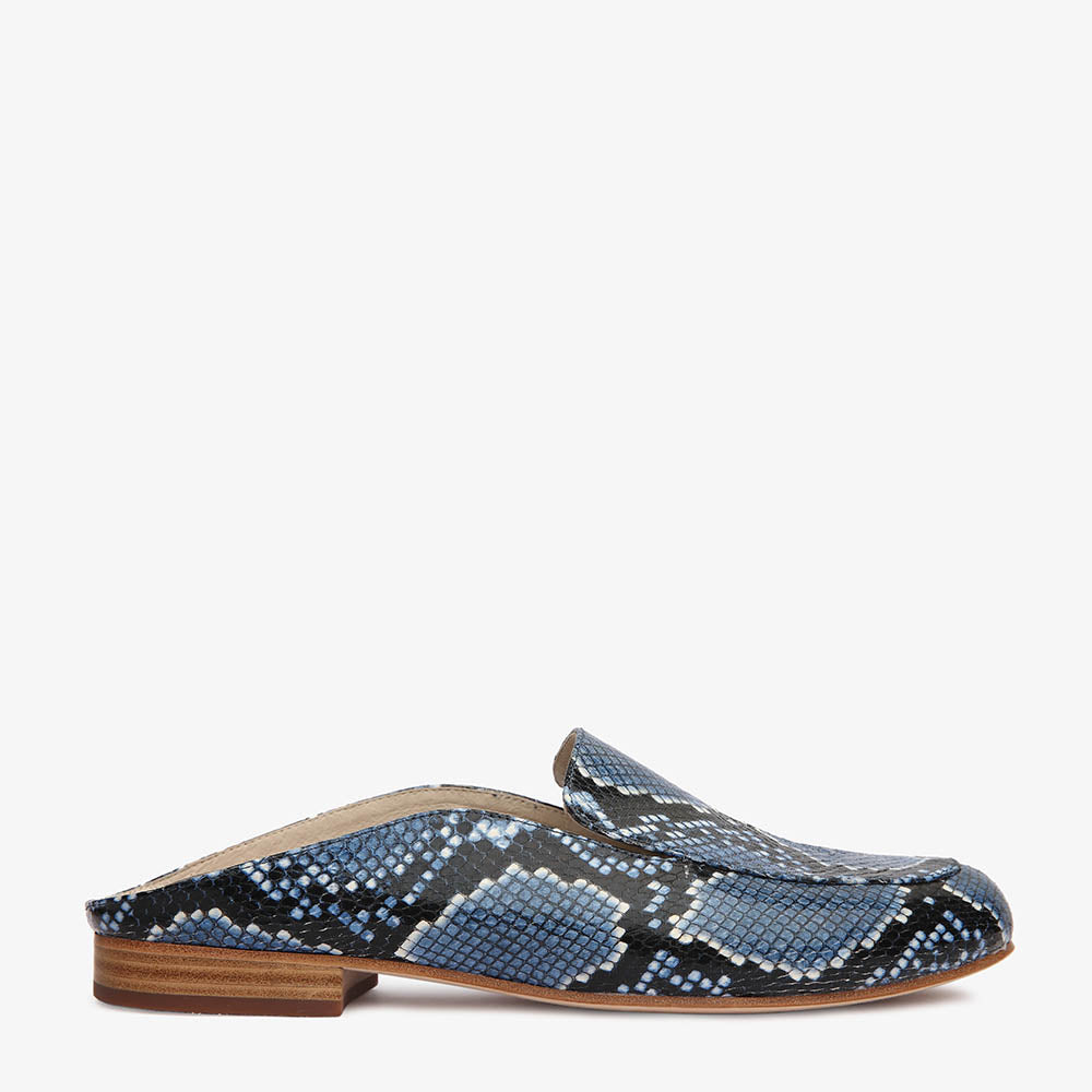 Jemima Blue Snake Backless Mule Side View